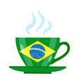 brazilian coffee icon flat style green cup with vector image