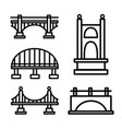 bridge outline icon set vector image