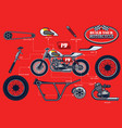 build your racing motorcycle with separated parts vector image