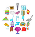 bursa icons set cartoon style vector image