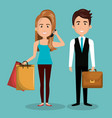 cartoon man and woman work and buy design graphic vector image