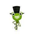 cheerful frog with black top hat and cane funny vector image