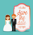 cute couple save the date invitation vector image vector image
