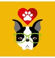 cute dog pet with paw heart background vector image vector image