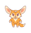 cute fennec fox calmly stands with smile amusing vector image vector image