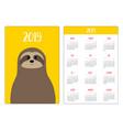 cute sloth animal head face simple pocket vector image vector image