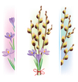 easter symbols crocuses and pussy willow vector image vector image