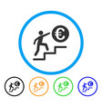 euro business steps rounded icon vector image vector image