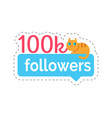 followers 100k statistics and info cat vector image