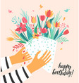gift for you beautiful flower bouquet tulips vector image vector image