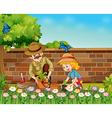 Girl and dad planting trees in the garden vector image vector image