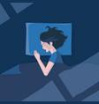 girl sleeping in moonlight vector image vector image