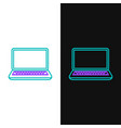 green and purple line laptop icon isolated on vector image vector image