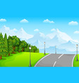 green landscape with mountains and road vector image