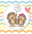 Greeting card with two Hedgehogs vector image vector image
