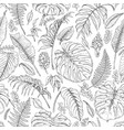 Hand drawn tropical plants pattern