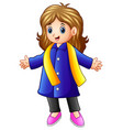 happy girl in blue winter clothes vector image