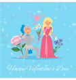 happy valentine day medieval princess lady and vector image vector image