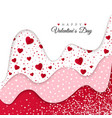 happy valentines day greeting card red wavy vector image vector image