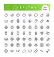 healthy food line icons set vector image vector image