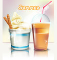 ice cream and frappe realistic summer vector image vector image