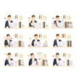 Male Office Worker In His Cubicle Working Set Of vector image vector image