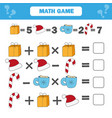 mathematics educational game for children vector image vector image