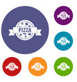pizza label with ribbon icons set vector image vector image