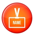 Plastic Name badge with neck strap icon vector image vector image
