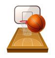 realistic basketball ground 3d orange ball vector image