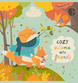 red fox father and son in autumn forest vector image vector image
