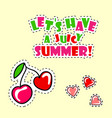 retro summer poster with cherry vector image vector image