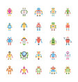robotic flat icons set vector image