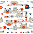 Seamless pattern with cute cats vector image