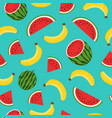 seamless pattern with yellow bananas watermelon vector image vector image