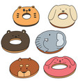 set of animal donut vector image vector image
