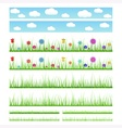 Set of seamless grass with flowers and without vector image vector image