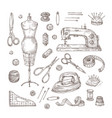 sewing sketch tailor shop hand drawn sewing tool vector image