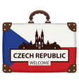 suitcase in colors of czech flag vector image
