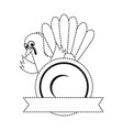 thanksgiving turkey with dish character icon vector image vector image