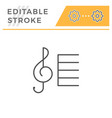 treble clef editable stroke line icon vector image
