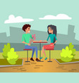 two young people in love on date in cafe vector image vector image