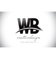 wb w b letter logo design with swoosh and black vector image