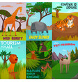 wild animals cards set vector image vector image