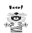 with joyful tiger who shouts - roar vector image