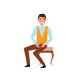 young smiling man sitting on classic wooden chair vector image