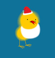 Chicken Santa Claus Small bird with beard and vector image