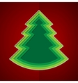 Green paper christmas tree on red background vector image