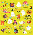 funny cartoon ghosts and monsters halloween vector image