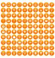 100 communication icons set orange vector image vector image
